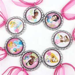 Wholesale New Cartoon Princess Necklaces Snow White Mermaid Aladdin Belle Princess Pendants Ribbon Necklace for Baby Kids Fashion Jewelry Decoration