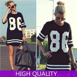 Robe 86 de base-ball en Ligne-Robe Automne 2015 Fashion T-shirt manches demi O Neck 86 américaine de baseball Casual robes imprimées femmes Plus Size Robes Tops