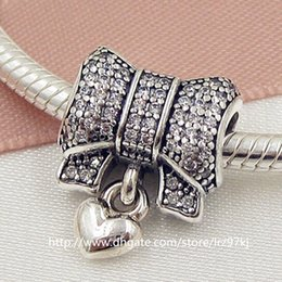 2015 New 100% 925 Sterling Silver Heart and Bow Charm Bead with Clear Cz Fits European Jewelry Bracelets & Necklace