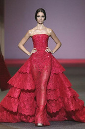 Michael Cinco Red Ball Gown Evening Dresses Lace Appliques Sweep train Sheer Tulle Dress With Tiered Ruffles Strapless Formal Women Gown