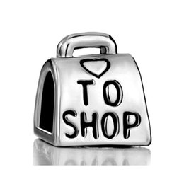10pcs per lot fashion Love To Shop Bag Handbag Heart Bead European Charm Fit Pandora Bracelet