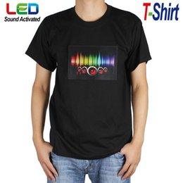 Wholesale Cool Sound Activated LED Light Up Music T Shirt Tshirt With Detachable EL Panel Fit For Party Dance DJ EGS_344