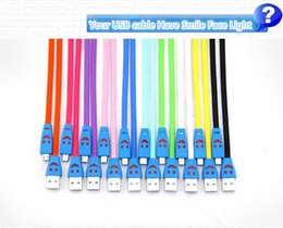 1m 3ft Visible Led Light Smile Face Flat Noodle Micro USB Data Sync Charger Cable Adapter For Samsung Galaxy s4 s3 LG HTC Nokia US010
