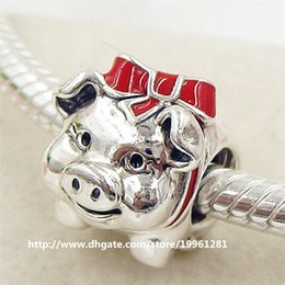 2016 Valentine's Day 925 Sterling Silver Piggy Bank Charm Bead with Red Enamel Fit European Pandora Style Jewelry Bracelets Necklaces