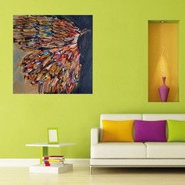 Wholesale Handpainted Animal Wall Art Abstract Colorful Butterfly Art Oil Painting On Canvas Best Gift Home Decor Hang Group Pictures