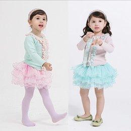 Wholesale Childrens Korean Fresh Style Princess Set Kids Spring Fashion Sweet Outfit Round Neck Cardigan And Tulle Tutu Skirt Pieces Set