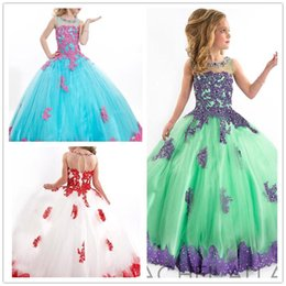 Tulle Lace Appliqued Ball Gown Long Princess Beauty Ritzee Pageant Dresses Gowns For Little Girls Suit for 2T-14Yrs Old