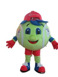 SW0409 a real photo of this plush green tennis ball mascot costume for adults for sale