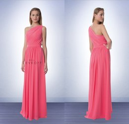 Wholesale New Arrival A Line Sweep Train Chiffon Coral One Shoulder Bridesmaid Dress With Pleated Long Wedding Party Gowns vestidos para festa