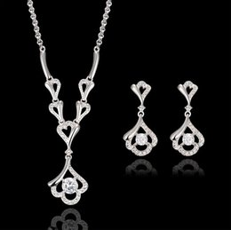 Wholesale Fashion Zircon Jewelry Sets For Women Fine Jewelry High Quality Silver Plated Necklace Earrings Sets For Wedding Jewelry Sets CAL31096A