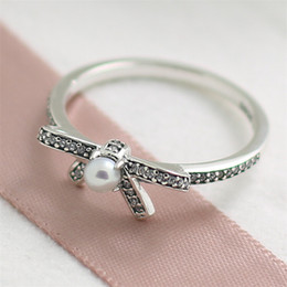 Fashion Jewelry Ring Women Ring European Style High-quality 100% 925 Sterling Silver Delicate Sentiments Ring with White Pearl and Clear CZ