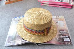 Promotion gros canotier Gros-naturel Canotier chapeau de paille courte Brim Chapeau de paille de blé 57-59cm TAILLE