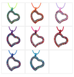 Wholesale 10pcs Bohemian Style New Arrive Assorted Candy Colors locket Floating Heart locket Charms Pendant Necklace With Free Cotton Chains