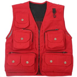 Fall-Summer Autumn Men Quick-Drying Mesh Vest Loose Multi-Pocket Outdoor Photography Angler Waistcoat Y835