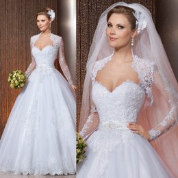 Wholesale 2015 Vestido Para Casamento A Line Long Sleeve Lace Beaded Wedding Dress with Jacket Bridal Gowns W3938