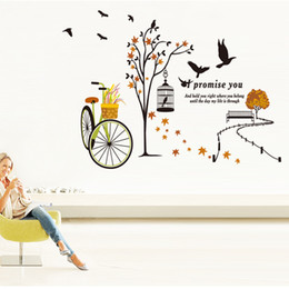 Wholesale Hot Bicycle baskets trees Birdcage wall sticker for kidding room wall decor Cute Cartoon pattern wall decals