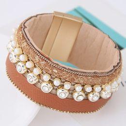 2016 Leather Bracelets Fashion Multiline Magnet Simulated Pearl Bracelets & bangles for Women wristband Jewelry pulseira feminina