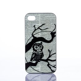 Wholesale Black Branches Owl Charm Style Hard Plastic Mobile Phone Case Cover For iPhone 4 4S 5 5S 5C
