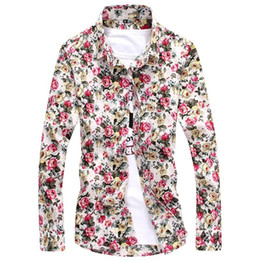 Wholesale Plus Size Flower Print Shirts New Fashion Floral Shirt Men Camisa Masculina Mens Shirt Long Sleeve Casual Blusas Camisas Hombre
