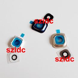 Or gros cadres lunettes à vendre-Holder Frame OEM nouvel appareil photo avec lentille en verre Cover + Pour Samsung Galaxy S6 G920 Blanc / Bleu / Or 100set gros / lot Livraison gratuite