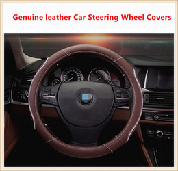 High-quality Universal Genuine leather Car Steering Wheel Covers suitable for 38cm car styling