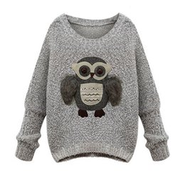 European style Women Sweaters and Pullovers Owl Printed Knitted Sweater Warm Gray Oversized Sweaters Fashion 2016 Autumn Winter