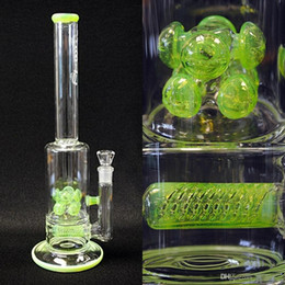 Wholesale 28Cm Tall Glass Bongs Water Pipes Slime Barrel In Line to Double Cross Diffused Bongs JM Flow Sci Oil Rigs Glass Bongs Fluorescent Green
