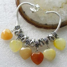 Wholesale 1 Strand Unique Artful Carved Tibet silver Yellow Aventurine Heart Diy Stretchy bracelet inch