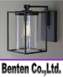 Wholesale Edison bulb Freely Antique Wall lamp Indoor and outdoor waterproof black Iron fog Glass Door wall light LLFA2333F