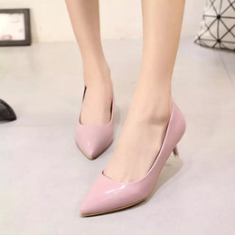 Fine pointed high heels shoes asakuchi in fall 2015 new low heel OL temperament career women shoes