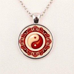 Wholesale Round Glass Necklace Yin Yang Pendant Necklace Art Glass Cabochon Necklace pendant glass gemstone necklace 150
