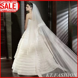 """Wholesale Single Tier Ivory Veil - 2015 New Arrival Single Tier 3Meters Ribbon Edge 118"""" Long No Comb Wedding Veil White Ivory Bridal Head Veil Knitting Net Cathedral Soft Tul"""