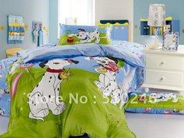 Wholesale hot sale cotton children boy living room lovely dog blue active printed twin duvet cover set bedding set