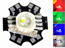 Wholesale-New Come! 5PCS 4W RGBW RGB+White High Power Led Bead Lamp Light Red Green Blue White 1W Each Chip with 20mm Star Base