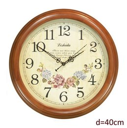 Wholesale Antique Style Round Wooden Wall Clock with Chestnut Color Framed Flower Clock inch
