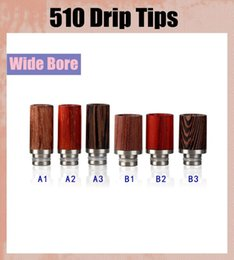 Ecig drip tips 510 rose wood for RDA Wide Bore Style 12mm Diameter e cigarette RDA drip tips high quality FJ223