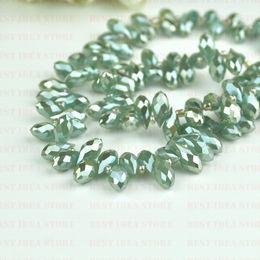 Wholesale Sale Price x12mm Mint Green Plating Briolette Pendants Waterdrop Crystal Glass Jewelry Loose Teardrop Beads DIY