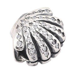100% Sterling Silver Charms 925 Ale Rhinestone Shell European Charms for Pandora Bracelets DIY Beads Accessories