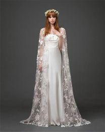 Bridal Cape Jackets Floor Length Lace Shawl Cloak 2015 New Long Bolero Shawl Coats Bridal Accessories Wedding Events Wraps Free Shipping