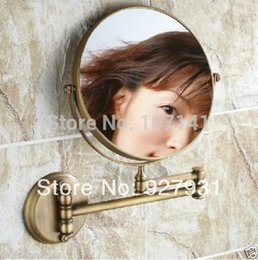 Free Shipping Wholesale And Retail Wall Mounted Antique Brass Folding Make Up Cosmetic Mirror Dual Sides Mirror