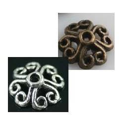 Wholesale OMH Retro Silver Bronze Tone Flower Bead Caps Finding mm U Choose Color ZL241