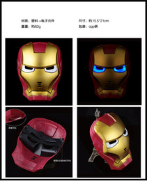 Wholesale Cheap Adult Gifts For Men - New Hot Sale Iron Man Masks Plastic Lighted Party Mask Holloween Mask For Children Full Face Mask Christmas Children Gift Cheap 2016 New
