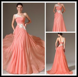 Wholesale Modern Coral Long Evening Dresses One Shoulder Applique Chiffon Special Occasion Prom Dress Formal Women Party Gowns Abendkleider Online