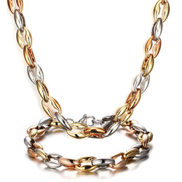 Wholesale Fashion Men Women Heavy weight SIlver Gold Rose Gold Lstainless steel Coffee Beans Link Chain necklace bracelet Jewelry Set