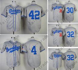 Wholesale Los Angeles Dodgers Baseball Jersey Jackie Robinson Sandy Koufax Wills Hemp Grey Stitched Retor Throwback Baseball Jersey