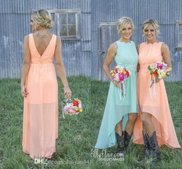 Country Bridesmaid Dresses 2016 Mint Orange Cheap Lace Appliques Jewel Neck High Low Length Chiffon For Wedding Party Dress Gowns Under 100