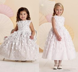 Wholesale Best Selling Flower Girl s Dresses Ball Gown With Beautiful Exquisite Appliques Print Flowers For Little Girl s Wedding Ho