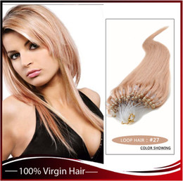 """Wholesale --5A 14""""- 24""""1g s 100g pack 27# dark blonde Indian Remy Human Loop Hair Micro Ring Hair Extensions dhl free shpping"""