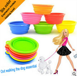 Wholesale Pet Products silicone Bowl pet folding portable Dogs Cats bowls for food the dog drinking water bowl pet bowls Colors