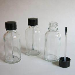wholesale 10 pcs 30ml Clear Glass Brush Bottle, 30ml Glear Glass Bottle,Clear Essetial Oil Bottle, Serum Brush